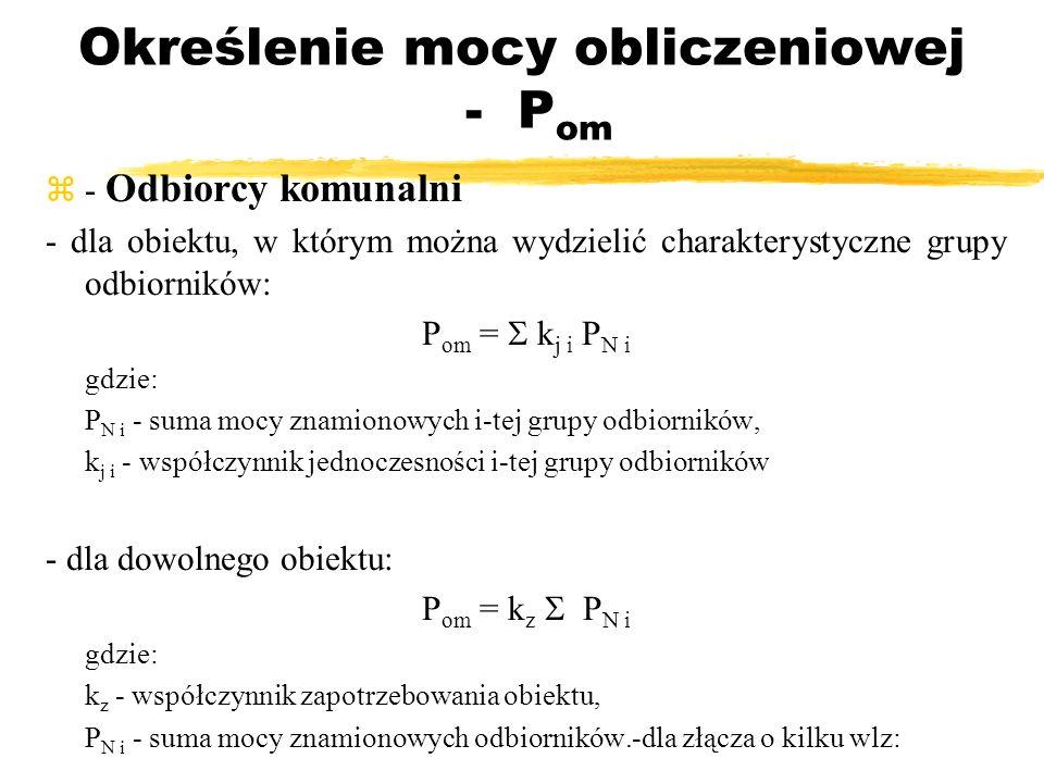 Określenie mocy obliczeniowej - P om - Odbiorcy komunalni - dla obiektu, w którym można wydzielić charakterystyczne grupy odbiorników: P om = k j i P