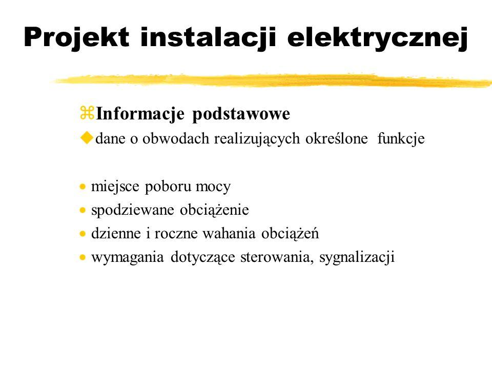 Projekt instalacji elektrycznej Informacje podstawowe dane o obwodach realizujących określone funkcje miejsce poboru mocy spodziewane obciążenie dzien