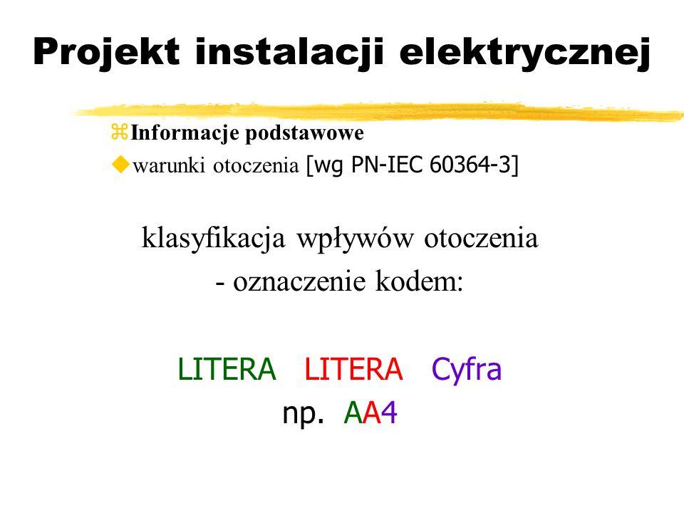 Projekt instalacji elektrycznej Informacje podstawowe warunki otoczenia [wg PN-IEC 60364-3] klasyfikacja wpływów otoczenia - oznaczenie kodem: LITERA