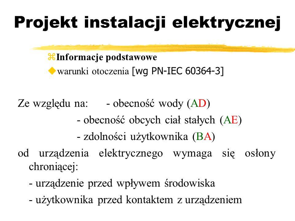 Projekt instalacji elektrycznej Informacje podstawowe warunki otoczenia [wg PN-IEC 60364-3] Ze względu na:- obecność wody (AD) - obecność obcych ciał