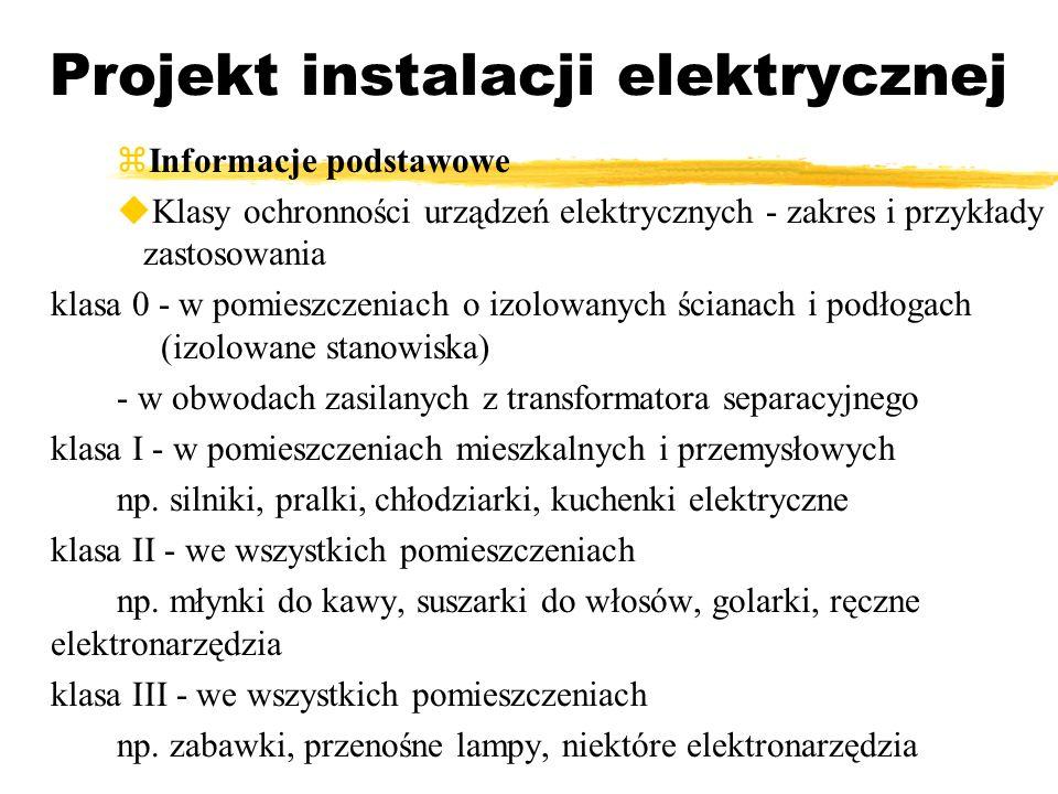 Projekt instalacji elektrycznej Informacje podstawowe Klasy ochronności urządzeń elektrycznych - zakres i przykłady zastosowania klasa 0 - w pomieszcz