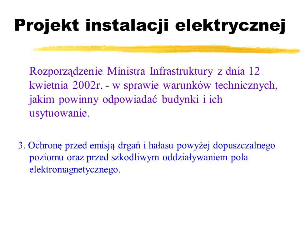 Projekt instalacji elektrycznej Rozpo rządzenie Ministra Infrastruktury z dnia 12 kwietnia 2002r. - w sprawie warunków technicznych, jakim powinny odp