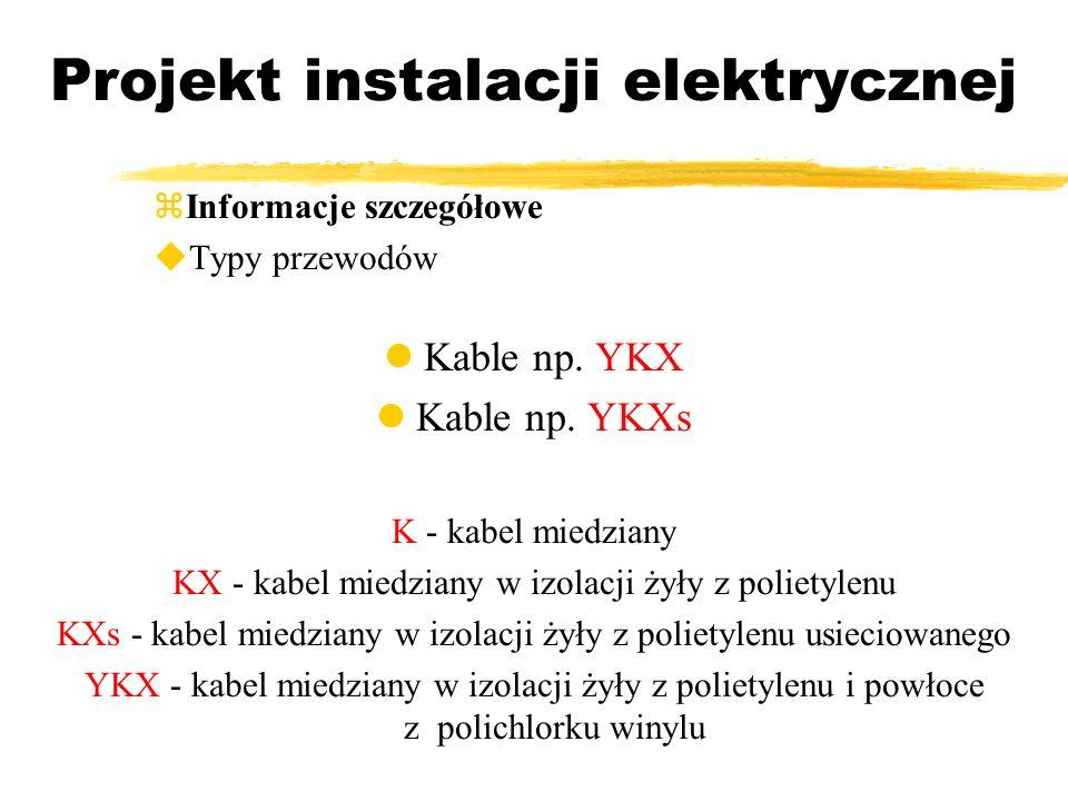 Projekt instalacji elektrycznej Informacje szczegółowe Typy przewodów Kable np. YKX Kable np. YKXs K - kabel miedziany KX - kabel miedziany w izolacji