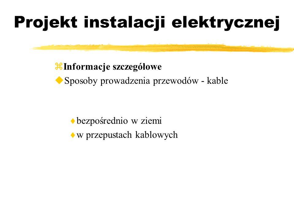 Projekt instalacji elektrycznej Informacje szczegółowe Sposoby prowadzenia przewodów - kable bezpośrednio w ziemi w przepustach kablowych