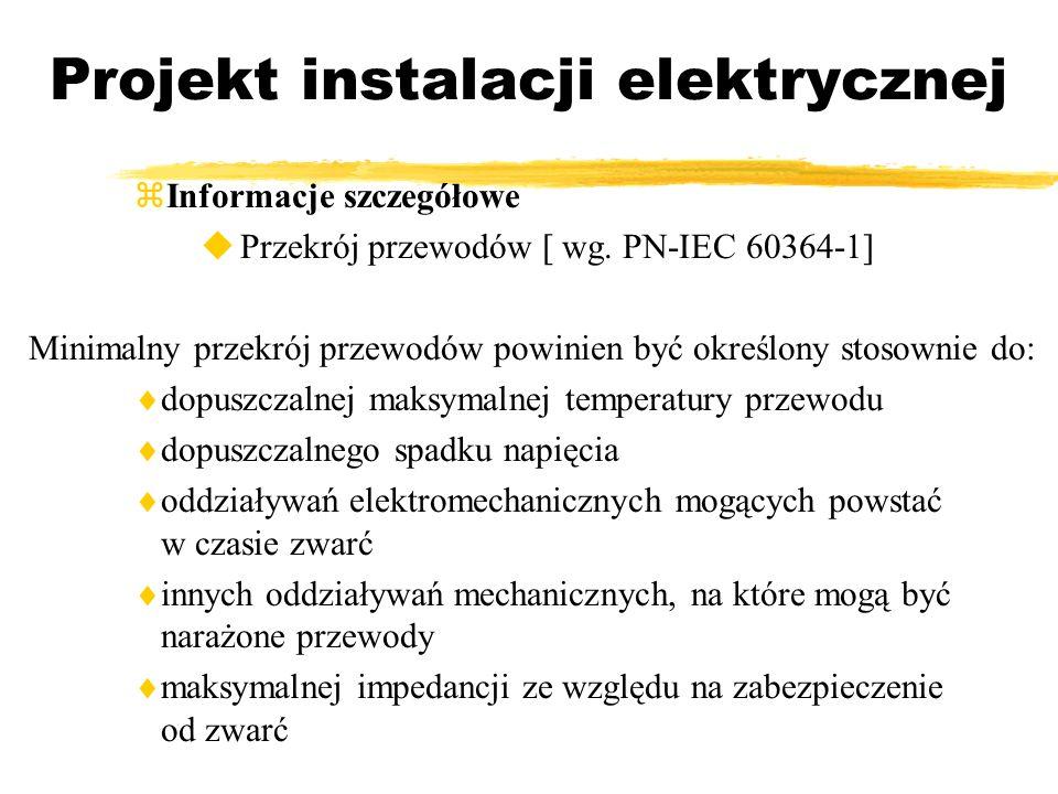 Projekt instalacji elektrycznej Informacje szczegółowe Przekrój przewodów [ wg. PN-IEC 60364-1] Minimalny przekrój przewodów powinien być określony st