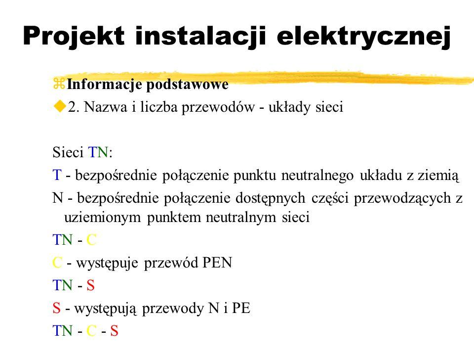 Projekt instalacji elektrycznej Informacje podstawowe 2. Nazwa i liczba przewodów - układy sieci Sieci TN: T - bezpośrednie połączenie punktu neutraln