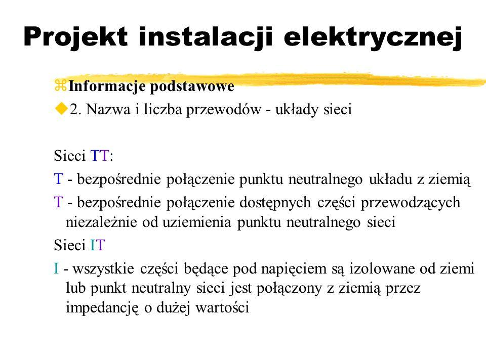 Projekt instalacji elektrycznej Informacje podstawowe 2. Nazwa i liczba przewodów - układy sieci Sieci TT: T - bezpośrednie połączenie punktu neutraln