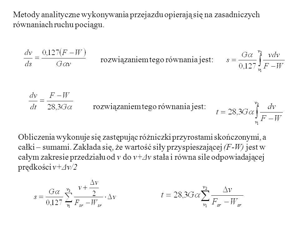 Metody analityczne wykonywania przejazdu opierają się na zasadniczych równaniach ruchu pociągu. rozwiązaniem tego równania jest: Obliczenia wykonuje s
