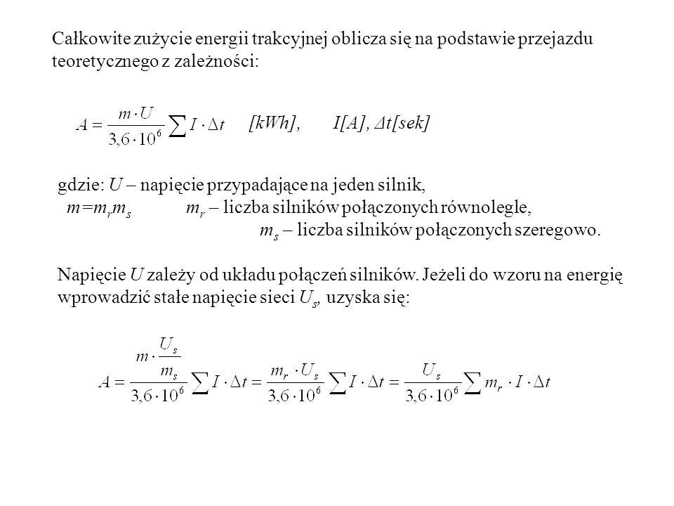 Jednostkowe zużycie energii trakcyjnej Bilans energii według jej ostatecznego przeznaczenia (dotyczy trakcji prądu stałego z silnikami prądu stałego i rozruchem oporowym): 1.praca użyteczna silników idąca na pokonanie oporów: a) zasadniczych b) krzywizn c) wzniesień, 2.straty przy przyhamowywaniu na większych spadkach, 3.straty w oporach rozruchowych, 4.straty dodatkowe w silnikach spowodowane ich pracą przy obniżonym napięciu (połączenie szeregowe), 5.straty przy hamowaniu na stacjach, 6.straty normalne silników w połączeniu zasadniczym.