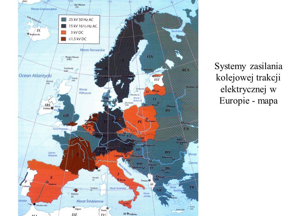 Systemy zasilania kolejowej trakcji elektrycznej w Europie - mapa