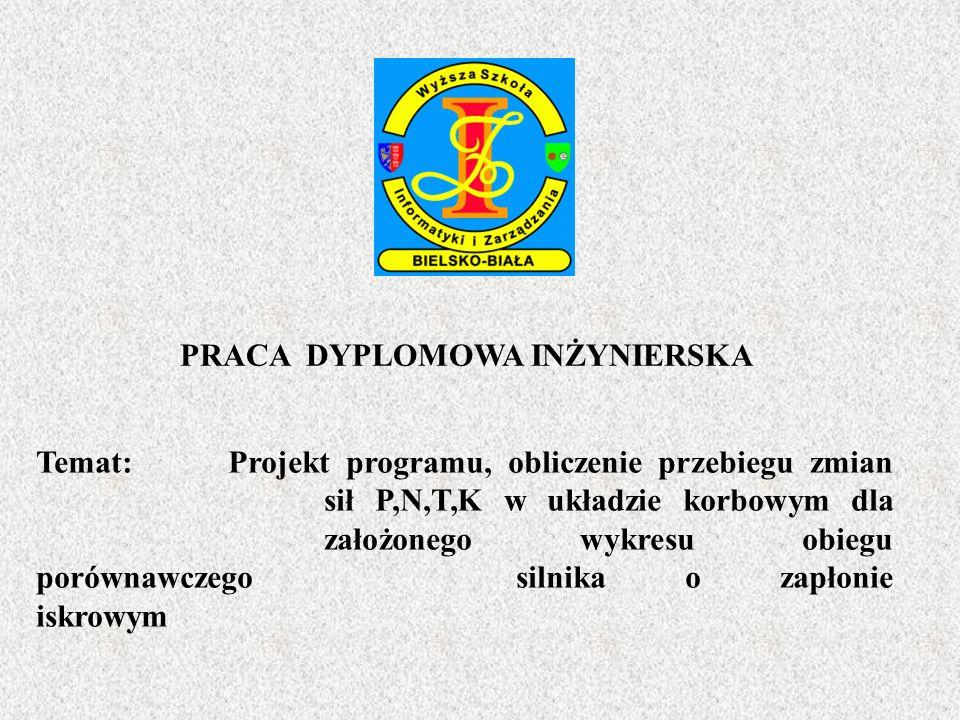 PRACA DYPLOMOWA INŻYNIERSKA Temat: Projekt programu, obliczenie przebiegu zmian sił P,N,T,K w układzie korbowym dla założonego wykresu obiegu porównaw