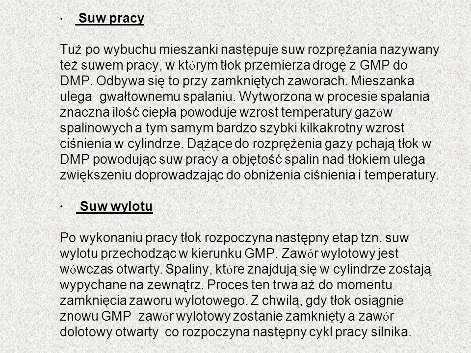 · Suw pracy Tuż po wybuchu mieszanki następuje suw rozprężania nazywany też suwem pracy, w kt ó rym tłok przemierza drogę z GMP do DMP. Odbywa się to