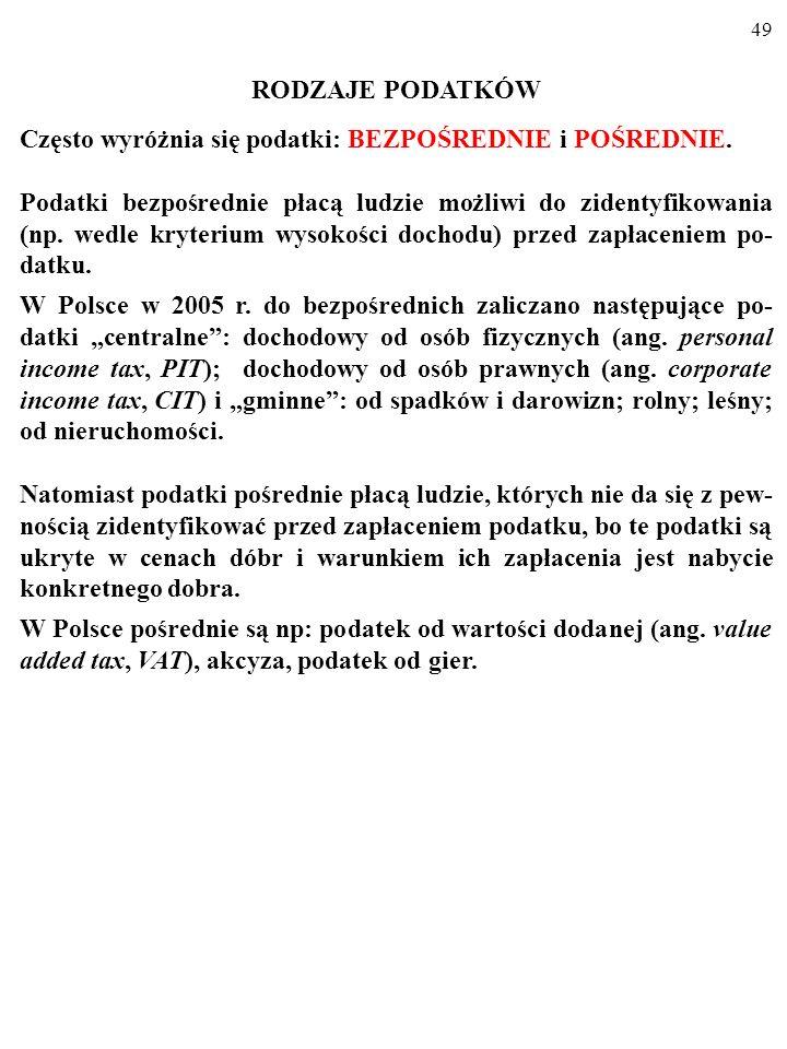 48 PODATKI PODATKI są głównym źródłem dochodów państwa. W Polsce wpływy z opodatkowania wyniosły w 2003 r. 88,9% wszystkich do- chodów budżetu central
