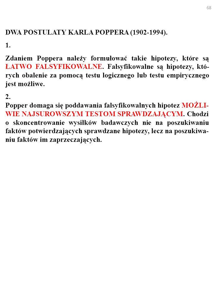 68 DWA POSTULATY KARLA POPPERA (1902-1994). 1. Zdaniem Poppera należy formułować takie hipotezy, które są ŁATWO FALSYFIKOWALNE. Falsyfikowalne są hipo