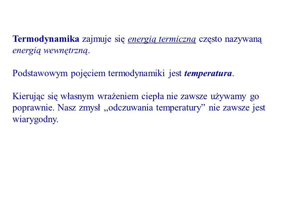 Termodynamika zajmuje się energią termiczną często nazywaną energią wewnętrzną. Podstawowym pojęciem termodynamiki jest temperatura. Kierując się włas