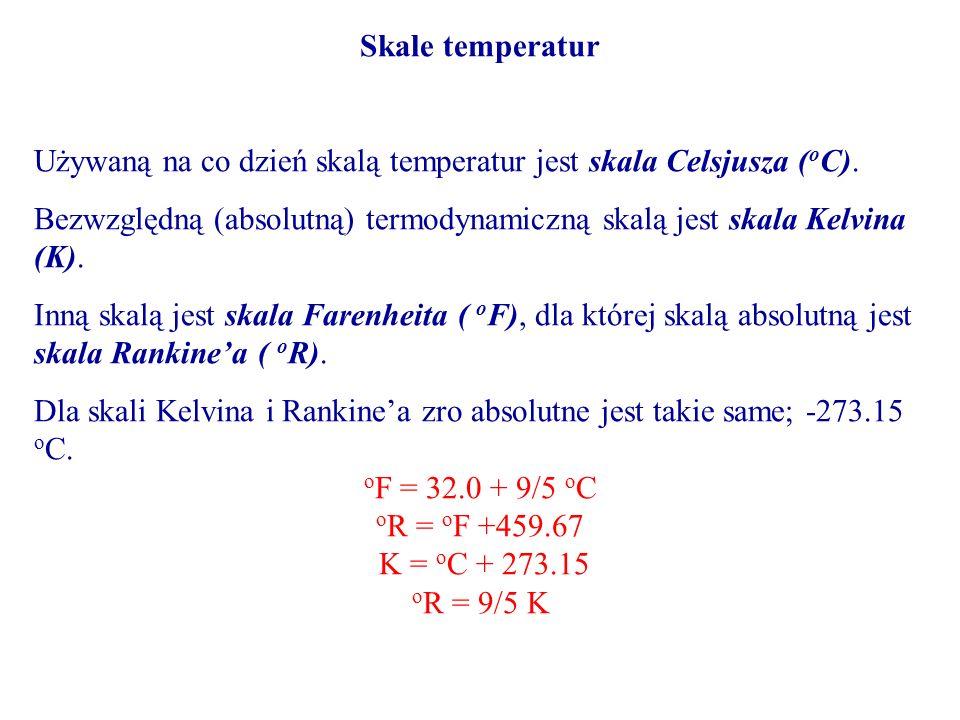 Skale temperatur Używaną na co dzień skalą temperatur jest skala Celsjusza ( o C). Bezwzględną (absolutną) termodynamiczną skalą jest skala Kelvina (K