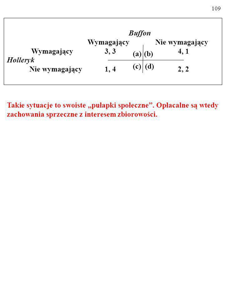 108 Zauważ, że np.sytuacja a, choć lepsza dla obu graczy od sytuacji d, nie jest równowagą Nasha.