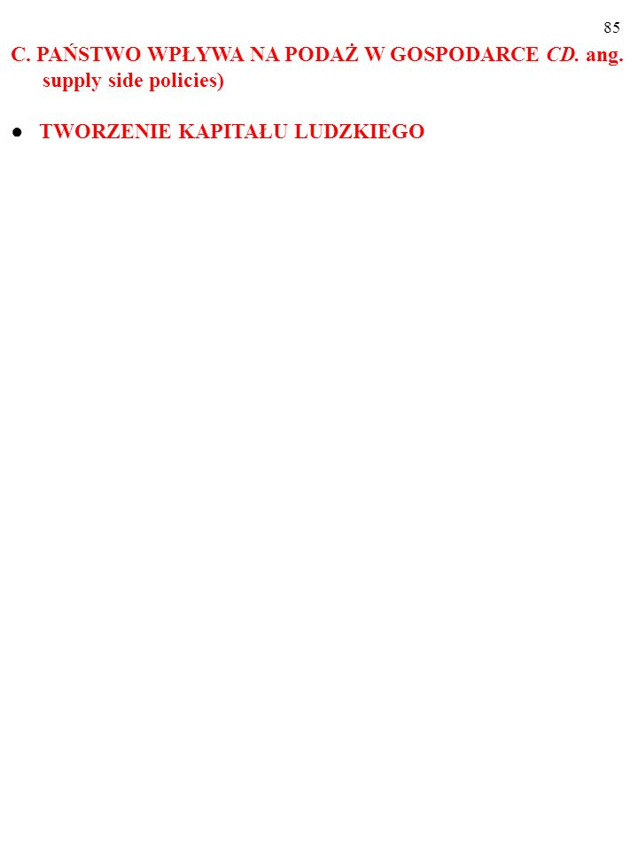 84 C. PAŃSTWO WPŁYWA NA PODAŻ W GOSPODARCE CD. ang. supply side policies)