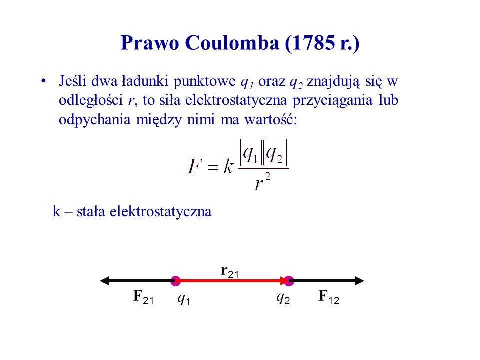 Prawo Coulomba (1785 r.) Jeśli dwa ładunki punktowe q 1 oraz q 2 znajdują się w odległości r, to siła elektrostatyczna przyciągania lub odpychania między nimi ma wartość: k – stała elektrostatyczna q1q1 q2q2 F 12 F 21 r 21