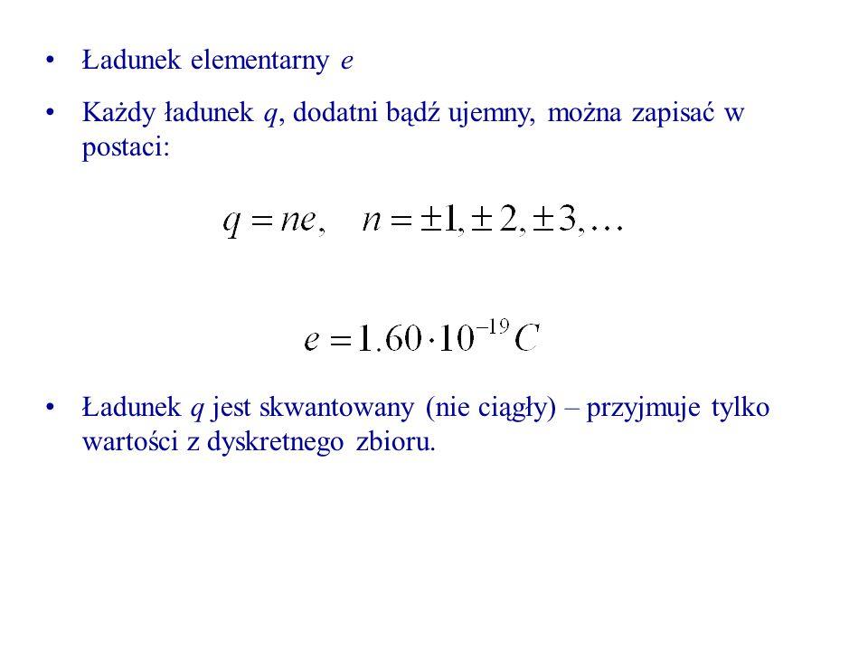 Ładunek elementarny e Każdy ładunek q, dodatni bądź ujemny, można zapisać w postaci: Ładunek q jest skwantowany (nie ciągły) – przyjmuje tylko wartości z dyskretnego zbioru.