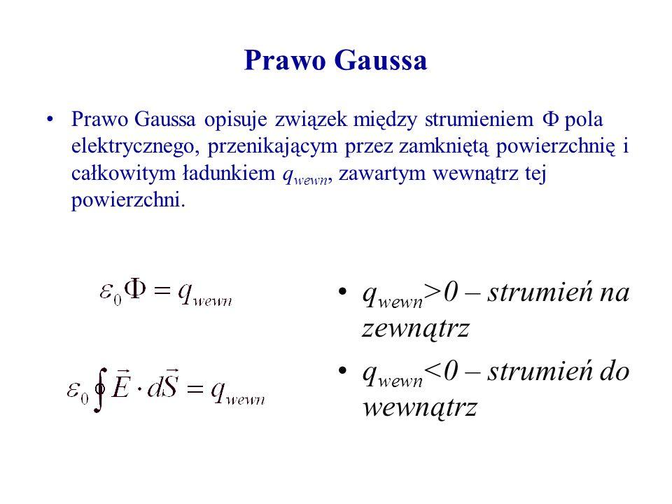Prawo Gaussa Prawo Gaussa opisuje związek między strumieniem pola elektrycznego, przenikającym przez zamkniętą powierzchnię i całkowitym ładunkiem q wewn, zawartym wewnątrz tej powierzchni.