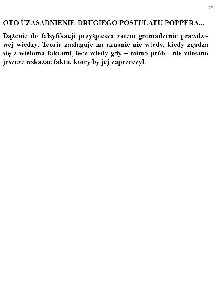 28 OTO UZASADNIENIE DRUGIEGO POSTULATU POPPERA... Dążenie do falsyfikacji przyśpiesza zatem gromadzenie prawdzi- wej wiedzy. Teoria zasługuje na uznan