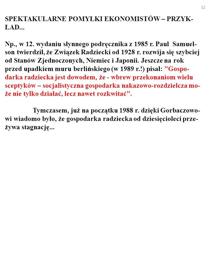 32 SPEKTAKULARNE POMYŁKI EKONOMISTÓW – PRZYK- ŁAD... Np., w 12. wydaniu słynnego podręcznika z 1985 r. Paul Samuel- son twierdził, że Związek Radzieck
