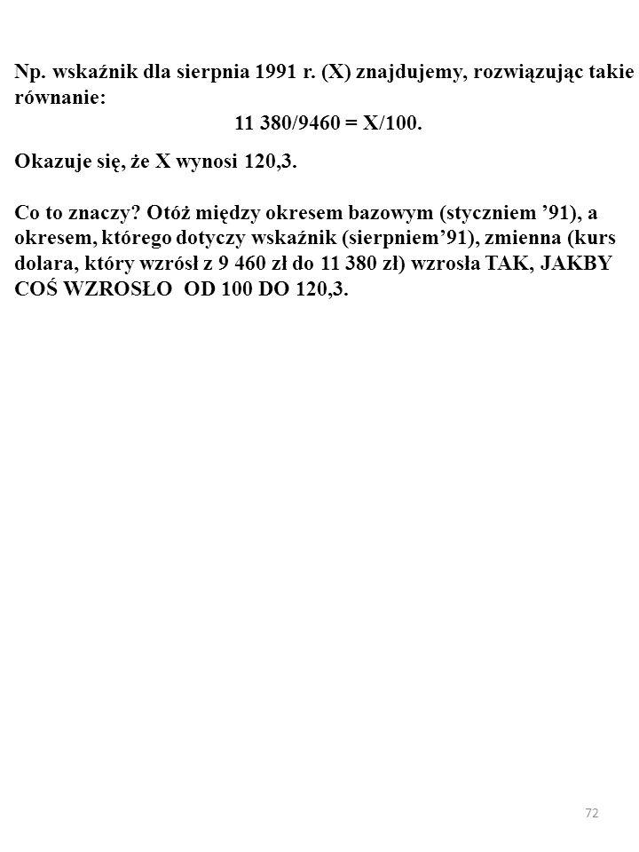 72 Np. wskaźnik dla sierpnia 1991 r. (X) znajdujemy, rozwiązując takie równanie: 11 380/9460 = X/100. Okazuje się, że X wynosi 120,3. Co to znaczy? Ot