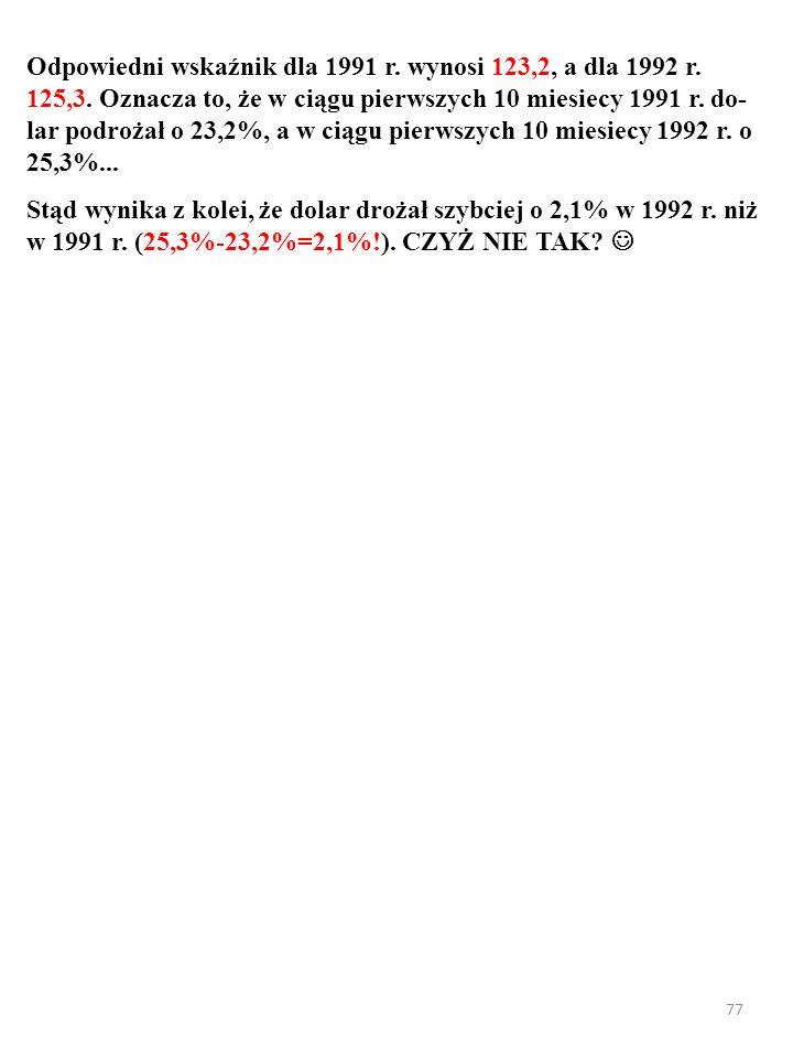 77 Odpowiedni wskaźnik dla 1991 r. wynosi 123,2, a dla 1992 r. 125,3. Oznacza to, że w ciągu pierwszych 10 miesiecy 1991 r. do- lar podrożał o 23,2%,