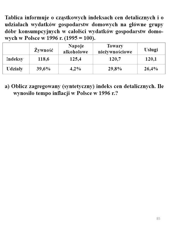 85 Tablica informuje o cząstkowych indeksach cen detalicznych i o udziałach wydatków gospodarstw domowych na główne grupy dóbr konsumpcyjnych w całołś