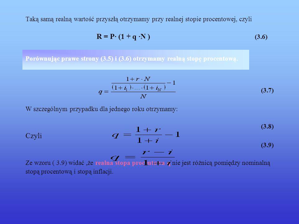 Taką samą realną wartość przyszłą otrzymamy przy realnej stopie procentowej, czyli R = P· (1 + q ·N ) (3.6) Porównując prawe strony (3.5) i (3.6) otrz