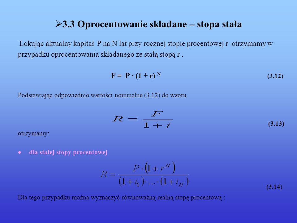 3.3 Oprocentowanie składane – stopa stała Lokując aktualny kapitał P na N lat przy rocznej stopie procentowej r otrzymamy w przypadku oprocentowania składanego ze stałą stopą r.