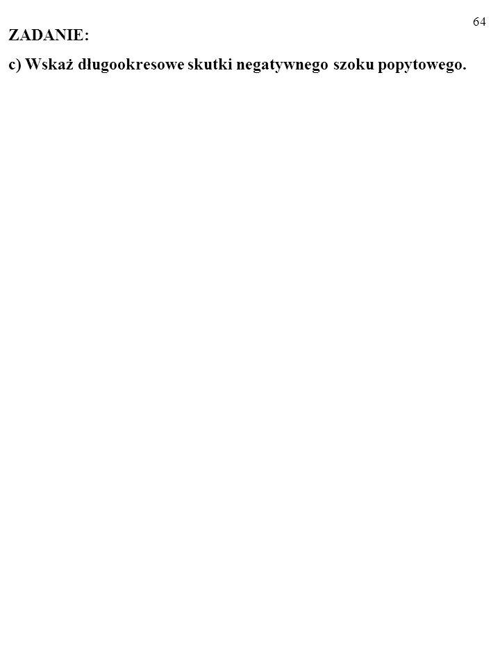 63 ZADANIE: a) Wykonaj rysunek z obiema krzywymi Phillipsa. b) Wskaż krótkookresowe skutki pozytywnego szoku popytowego. U A π 0 E0E0 PC 1 U π 0 E0E0