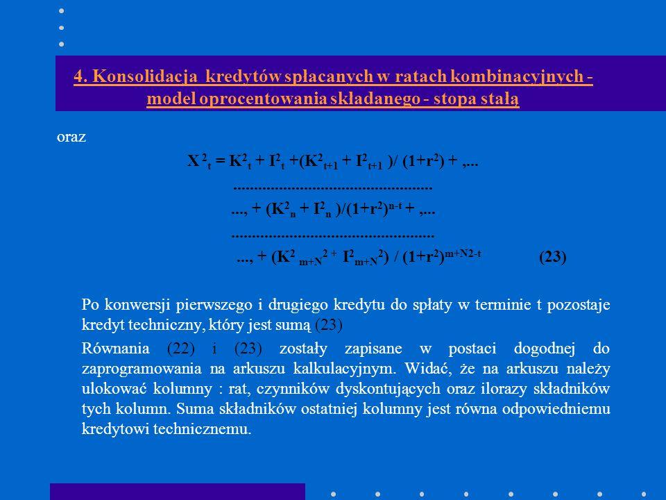 4. Konsolidacja kredytów spłacanych w ratach kombinacyjnych - model oprocentowania składanego - stopa stałą oraz X 2 t = K 2 t + I 2 t +(K 2 t+1 + I 2