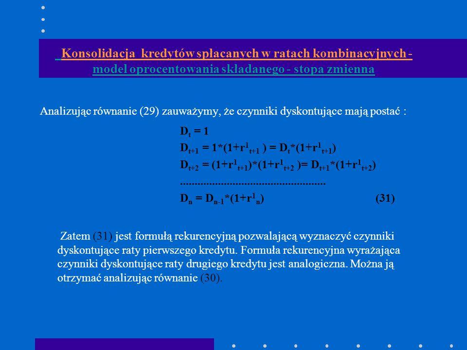 Konsolidacja kredytów spłacanych w ratach kombinacyjnych - model oprocentowania składanego - stopa zmienna Analizując równanie (29) zauważymy, że czynniki dyskontujące mają postać : D t = 1 D t+1 = 1*(1+r 1 t+1 ) = D t *(1+r 1 t+1 ) D t+2 = (1+r 1 t+1 )*(1+r 1 t+2 )= D t+1 *(1+r 1 t+2 )..................................................