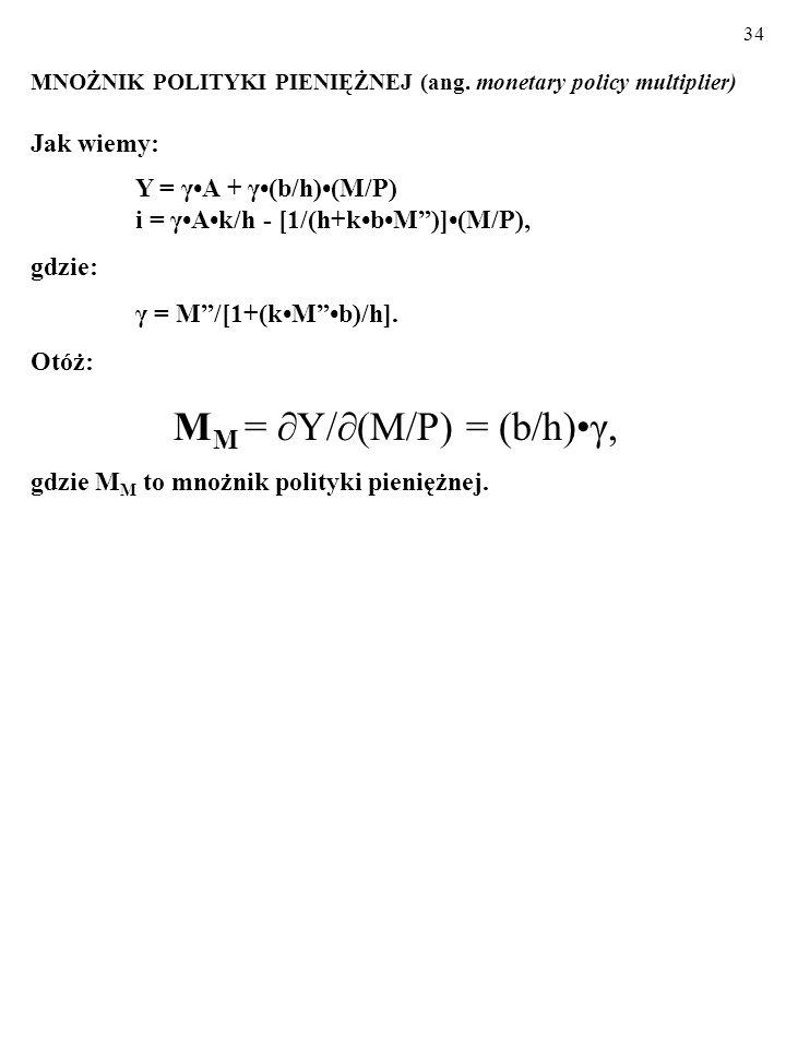 33 MNOŻNIK POLITYKI FISKALNEJ (ang. fiscal policy multiplier) Jak wiemy: Y = γA + γ(b/h)(M/P) i = γAk/h - [1/(h+kbM)](M/P), gdzie: γ = M/[1+(kMb)/h].