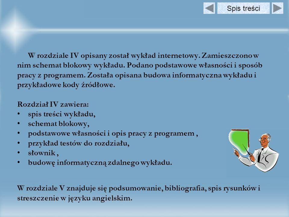 W rozdziale IV opisany został wykład internetowy. Zamieszczono w nim schemat blokowy wykładu. Podano podstawowe własności i sposób pracy z programem.