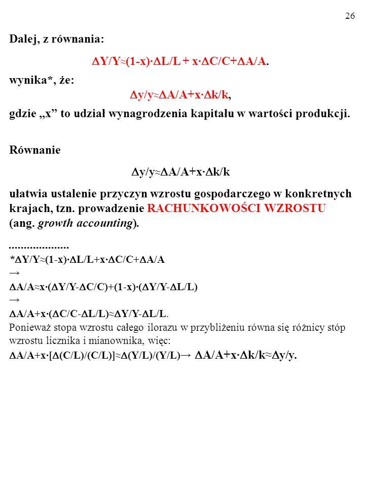 25 A zatem: Y=A·f(L,C) Y/Y (1-x)· L/L + x· C/C + A/A. To się nazywa DEKOMPOZYCJA SOLOWA. Dekom- pozycja Solowa ujawnia wkład poszczególnych przyczyn (