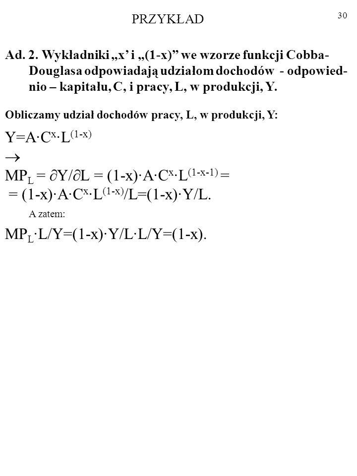 29 Ad. 1. Funkcja Cobba-Douglasa jest jednorodna stopnia pierwszego. A·C x ·L (1-x) =Y A·( ·C) x ·( ·L) (1-x) =A·( x ·C x )·( (1-x) ·L (1-x) )= x · (1