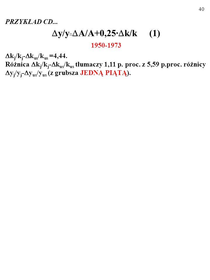 39 PRZYKŁAD CD... Podstawienie do wzoru (1): y/y A/A+0,25· k/k (1) różnicy temp wzrostu capital-labor ratio w J i w US ( k j /k j - k us /k us ) pozwa