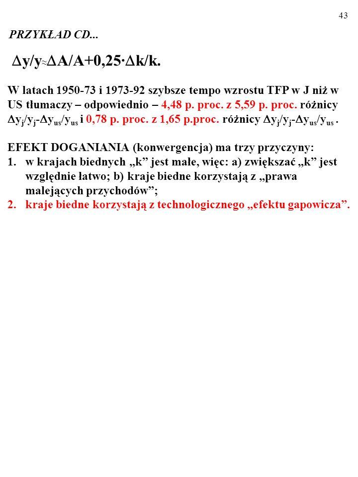 42 OKRES 1950-1973 Różnica k j /k j - k us /k us tłumaczy 1,11 p. proc. z 5,59 p.proc. róż- nicy y j /y j - y us /y us (z grubsza jedną piątą). OKRES