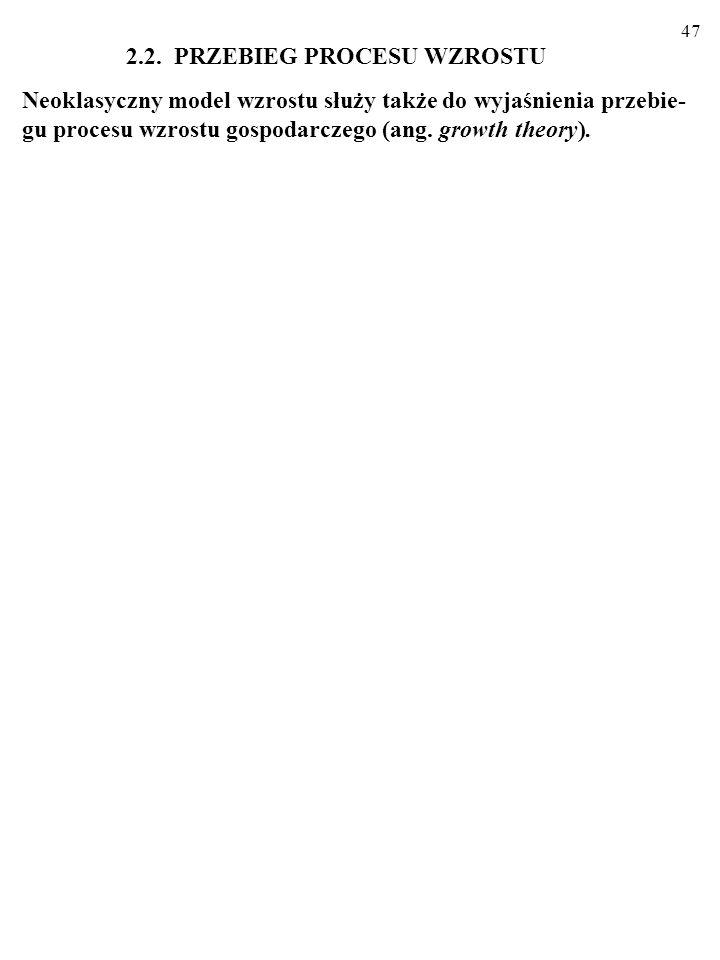 46 Oto zmodyfikowana MFP, uwzględniająca kapitał ludzki... Y=A·f(C,H,L) Analizy empiryczne sugerują, że: 1. W większości krajów wzrost zużywanej ilośc