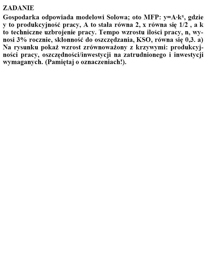 69 Innymi słowy Solow dowiódł, że proces wzrostu jest STABILNY. Gospodarka AUTOMATYCZNIE OSIĄGA STAN, W KTÓRYM WZROST JEST ZRÓWNOWAŻONY, I TRWA W TYM