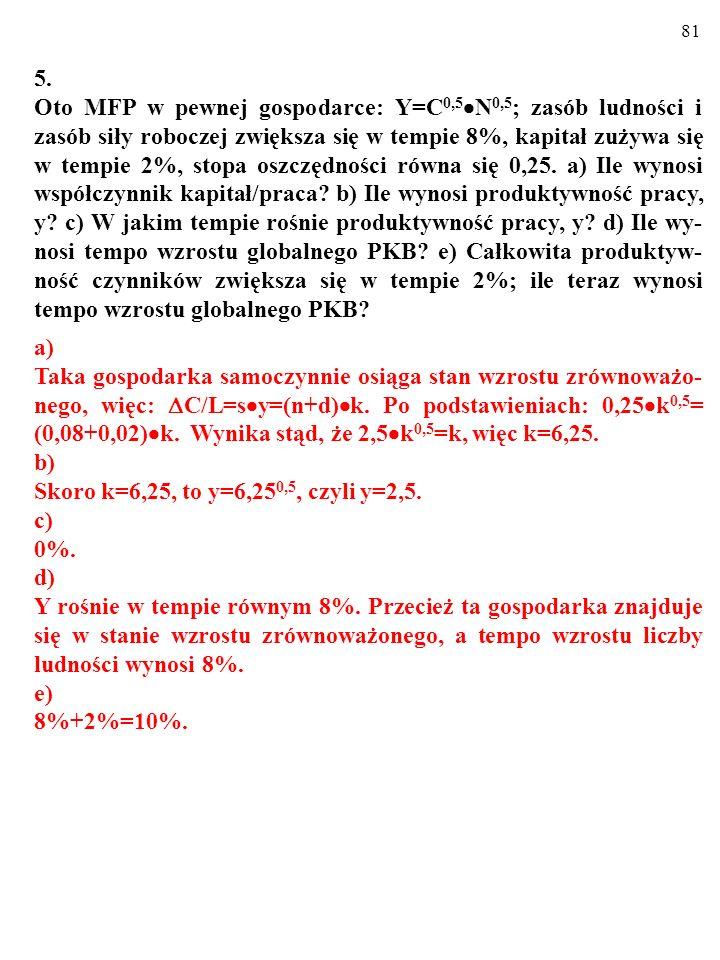 80 4. Oto makroekonomiczna funkcja produkcji w gospodarce, która odpowiada modelowi Solowa: y=A k X, gdzie y to produktywność pracy, A to stała równa