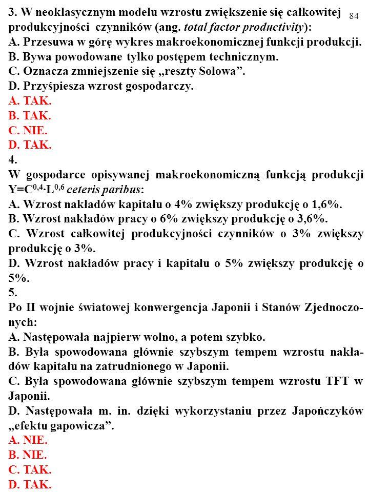 83 Test (Plusami i minusami zaznacz prawdziwe i fałszywe odpowiedzi) 1. Zgodnie z neoklasycznym modelem wzrostu zmiany całkowitej produkcyjności czynn