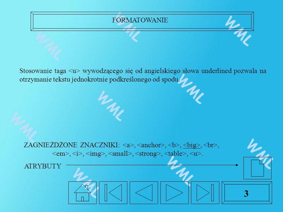 FORMATOWANIE 3 Stosowanie taga wywodzącego się od angielskiego słowa underlined pozwala na otrzymanie tekstu jednokrotnie podkreślonego od spodu. ZAGN