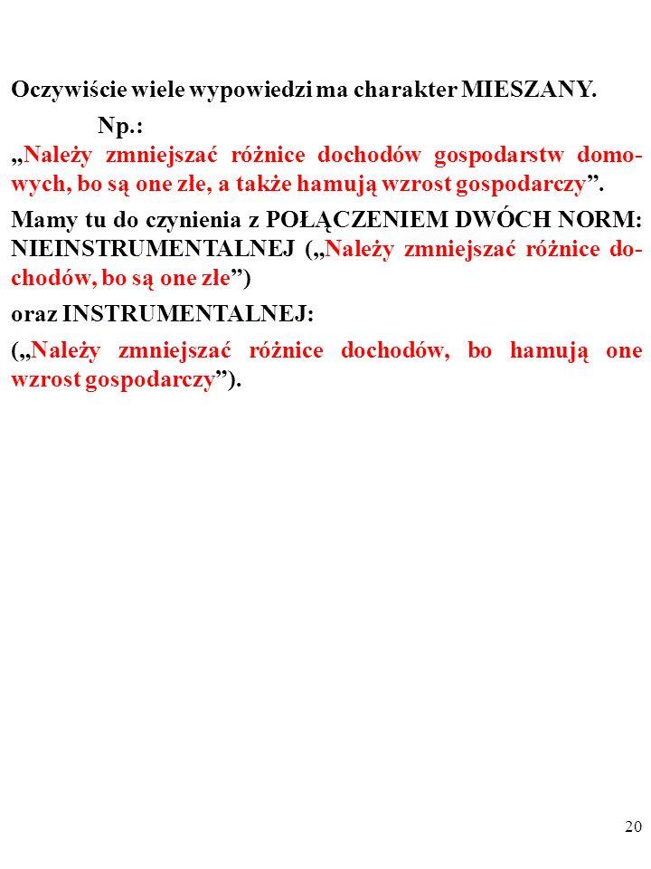 19 SWOCENYNORMY NIEINSTRUMENTALNE (A) Oceny nieinstrumentalne (B) Normy nieinstrumentalne INSTRUMENTALNE (C) Oceny instrumentalne (D) Normy instrument