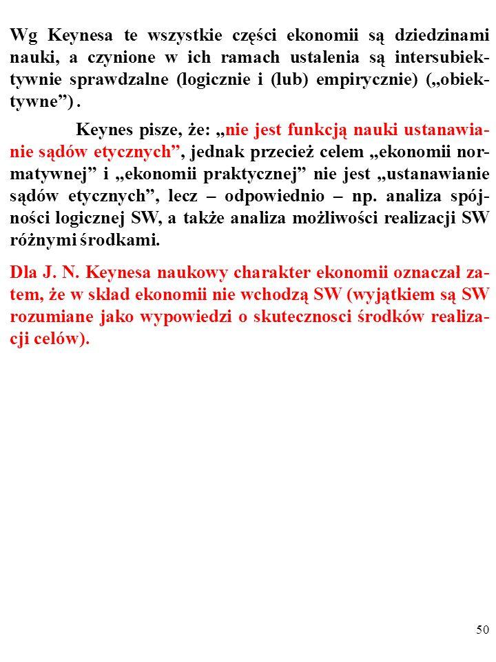 49 Wg Keynesa te wszystkie części ekonomii są dziedzinami nauki, a czynione w ich ramach ustalenia są intersubiek- tywnie sprawdzalne (logicznie i (lu