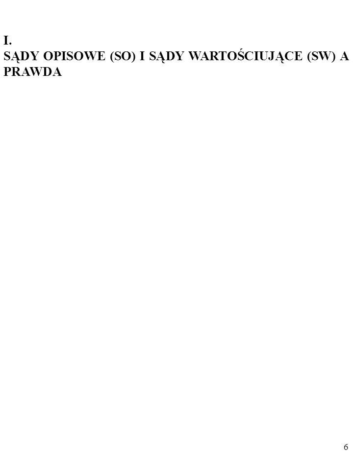 6 I. SĄDY OPISOWE (SO) I SĄDY WARTOŚCIUJĄCE (SW) A PRAWDA