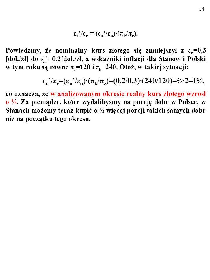 13 ε r /ε r = (ε n /ε n )(π k /π z ), Jak się okazuje, znając zmianę kursu nominalnego i indeksy cen, możemy ustalić zmianę kursu realnego w pewnym okresie.